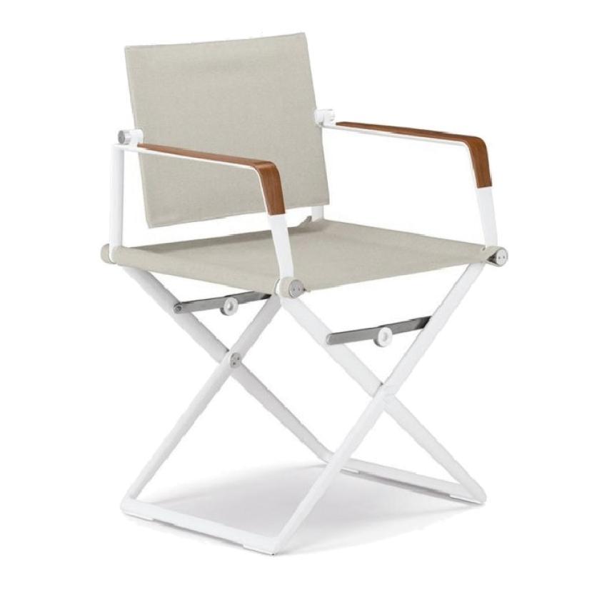 SeaX • Klappstuhl / Gartenstuhl • Weiß mit Holzdekor • Bespannung Sail Dove • DEDON SeaX • Klappstuhl • Weiß mit Holzdekor • Bespannung Sail Dove • DEDON 37005