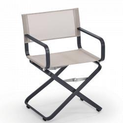 AHOI • Gartenstuhl mit Armlehnen / Klappstuhl • Gestell Grau-Metallic oder Weiss • Bespannung Batyline® ISO • WEISHÄUPL