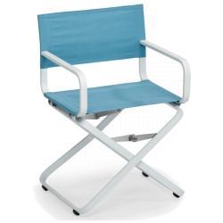 AHOI • Gartenstuhl mit Armlehnen / Klappstuhl / Regiestuhl • Gestell Grau-Metallic oder Weiß • Bespannung Acryltuch • WEISHÄUPL