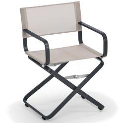 AHOI • Gartenstuhl mit Armlehnen / Klappstuhl / Regiestuhl • Gestell Grau-Metallic oder Weiß • Bespannung Batyline • WEISHÄUPL