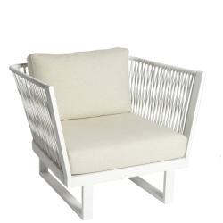 ALTEA • Loungesessel / Hochlehner • Aluminium Weiß • Seil-Bespannung Off-White • BOREK