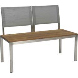 ARIMA • 2-Sitzer Gartenbank • Edelstahl & Teak • Textilen-Bespannung Silber • STERN
