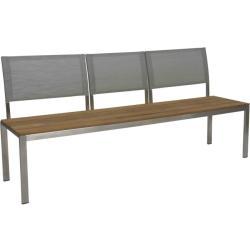 ARIMA • 3-Sitzer Gartenbank • Edelstahl/Teak • Textilen-Bespannung Silber • STERN
