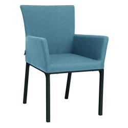 ARTUS • Armlehnstuhl / Sessel • Aluminiumgestell anthrazit • Outdoorstoff hellblau/seidengrau • STERN