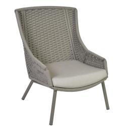 AVEIRO • Outdoor Loungesessel / Loungechair • Alu Schiefer • Seilbespannung Schiefer • Kissen inklusive • BOREK