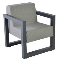 BERGEN • Gartenstuhl mit Armlehnen • Aluminium • Outdoor-Fabric Polster • BOREK