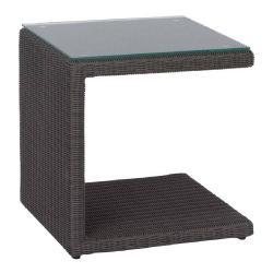 BUTLER • Outdoor Beistelltisch / Loungetisch • Geflecht Basaltgrau • Klarglasplatte • STERN