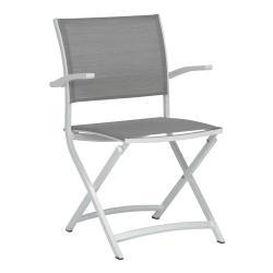 CAMILLO • Gartenstuhl mit Armlehnen / Klappstuhl • Alu Weiß • Textilenbezug Silber • STERN