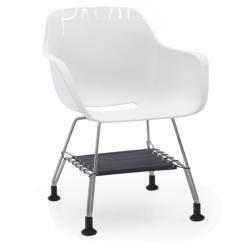 CAPTAIN´S CHAIR • Armlehnstuhl mit Netzablage • Sitzschale Weiß • Gestell Edelstahl • EXTREMIS