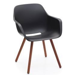 CAPTAIN`S CHAIR • Gartenstuhl mit Armlehnen • Sitzschale Schwarz • Gestell Jatoba • EXTREMIS