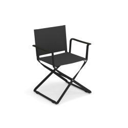 CIAK • Gartenstuhl mit Armlehnen / Klappstuhl • Gestell Schwarz / Bespannung Anthrazit • EMU