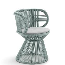 CIRQL • Gartenstuhl mit Armlehnen und Standfuss • Bluestone • DEDON