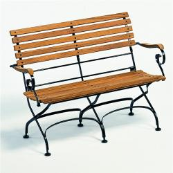 CLASSIC • 2-Sitzer Gartenbank mit Armlehnen • div.Gestellfarben • WEISHÄUPL