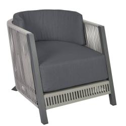 COSENZA • Outdoor Loungesessel / Loungechair • Gestell Anthrazit • Gurtbespannung in Taupe • BOREK