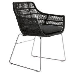 CRINOLINE • Gartenstuhl mit Armlehnen / Kufenstuhl • Weiß-Schwarz oder Tortora • B&B Italia