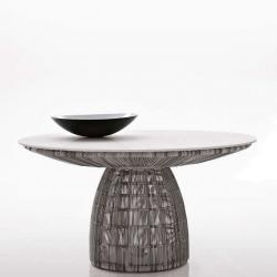 CRINOLINE • Gartentisch • Ø138cm • Glasplatte • Schwarz-Weiß oder Tortora • B&B Italia