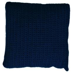 CROCHETTE • Outdoor Kissen 50x50 • doppelt gehäkelte Ardenza Outdoor Faser • Farbe navy • BOREK