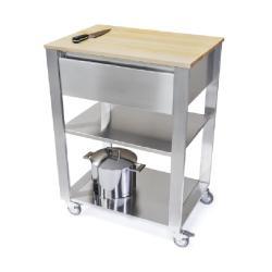 Cun Küchenwagen • 1 Schublade • Edelstahl • 3 Ebenen • Arbeitsfläche Weissbuche • JOKODOMUS
