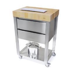 Cun Küchenwagen • 2 Schubladen • Edelstahl • 2 Ebenen • Arbeitsfläche Weissbuche Stirnholz • JOKODOMUS