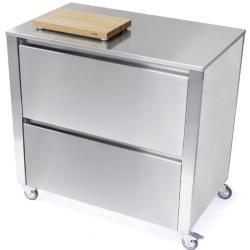 CUN Küchenwagen mit Stauraum • 2 große Schubladen • Edelstahl • JOKODOMUS
