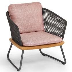 DENIA • Outdoor Loungesessel / Loungechair • Aluminiumrahmen, Seilbespannung & Teakholz • Polster exklusive • WEISHÄUPL