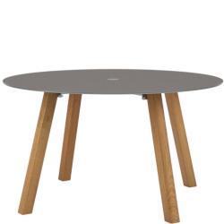 DISCUS • Gartentisch / Esstisch rund • Ø130cm • Gestell Teak • Platte Glas • mit Schirmdurchlass • ROYAL BOTANIA