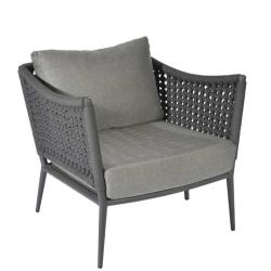 ESTORIL • Outdoor Loungesessel / Loungechair • Gestell Anthrazit • Gurtbespannung in Dunkelgrau • BOREK
