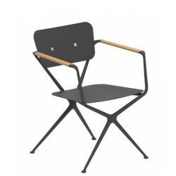 EXES • Gartenstuhl mit Armlehnen • Gestell aus Aluminium • Armlehnen aus Teakholz • ROYAL BOTANIA