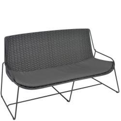 FERRAGUDO • Outdoor 2-Sitzer Sofa • Stahl pulverbeschichtet in Anthrazit • Gurt-Bespannung Dunkelgrau • Sitzpolster inklusive • BOREK