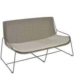 FERRAGUDO • Outdoor 2-Sitzer Sofa • Stahl pulverbeschichtet in Schiefer • Gurt-Bespannung Schiefer • Sitzpolster inklusive • BOREK