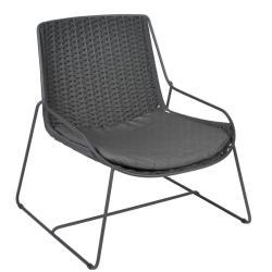 FERRAGUDO • Outdoor Loungesessel / Loungechair • Stahl pulverbeschichtet in Anthrazit • Gurt-Bespannung Dunkelgrau • Sitzpolster inklusive • BOREK