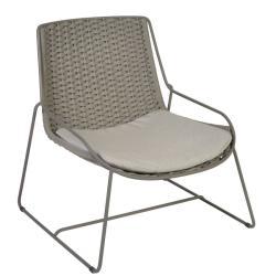 FERRAGUDO • Outdoor Loungesessel / Loungechair • Stahl pulverbeschichtet in Schiefer • Gurt-Bespannung Schiefer • Sitzpolster inklusive • BOREK