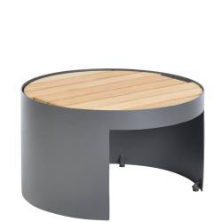 FURORE • Outdoor Beistelltisch • mit Gestellausparung • Ø60 × H35,5cm • Teakholz • Aluminiumgestell • BOREK