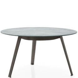 GINEPRO • Gartentisch / Esstisch • Ø105cm • Aluminium / Serpentin-Stein • B&B Italia