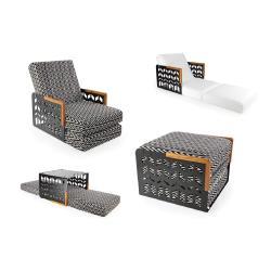 KUBE CHEVRONS • Sessel-/ Bettkombination • Armlehnen aus Teak oder Corian • div.Farben • EGO PARIS