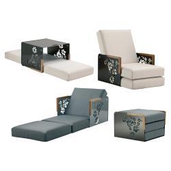 KUBE  FLEUR • Sessel-/ Sonnenbett Kombination • Armlehne aus Teak oder Corian Armlehne • div.Farben • EGO PARIS
