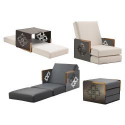 KUBE ORIENT • Sessel-/ Bettkombination • Armlehnen aus Teak oder Corian • div.Farben • EGO PARIS
