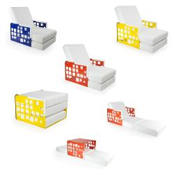 KUBE PIXELS • Sessel-/ Bettkombination • Armlehnen aus Teak oder Corian • div.Farben • EGO PARIS