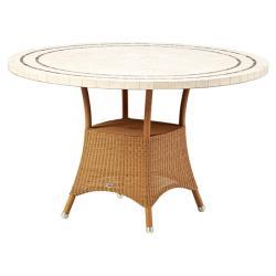 LANSING • Gartentisch / Esstisch • Ø120 • Gestell in Natur oder Taupe• Travertin- oder Schieferplatte • cane-line