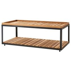 LEVEL • Couchtisch / Loungetisch • 62x122cm • Gestell Schwarz oder Weiß mit Teakplatte • cane-line