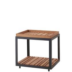 LEVEL • Outdoor Beistelltisch • 48×48cm • Lavagrau mit Teakplatte • Cane-line