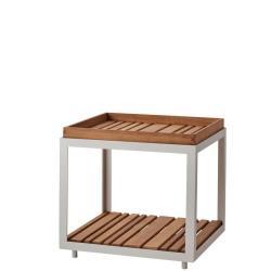 LEVEL • Outdoor Beistelltisch • 48×48cm • Weiss mit Teakplatte • Cane-line
