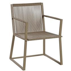 LINCOLN • Gartenstuhl mit Armlehnen / Kufenstuhl • Alu Sand • Seile Sand • Kissen optional • BOREK