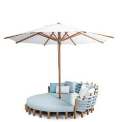 LOTUS • Outdoor Daybed / Sonneninsel • Gestell aus Teakholz • inkl.Polster & Rückenpolster • ROYAL BOTANIA