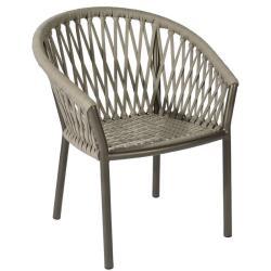 MAJINTO • Gartenstuhl mit Armlehnen • Aluminium Bronzebraun • Ardenza Gurt-Bespannung • BOREK
