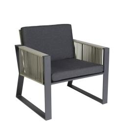MODENA • Outdoor Loungesessel / Loungechair • Gestell Anthrazit • Gurtbespannung in Taupe • BOREK