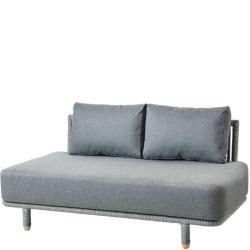MOMENTS • Outdoor Loungemodul 2-Sitzer MITTEL-Element • inkl.Kissensatz AirTouch® Grau • Cane-line