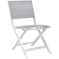 NILS • Balkonklappstuhl / Gartenstuhl • Aluminium Weiß • Textilen Silber • STERN