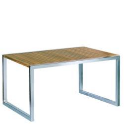 NINIX • Gartentisch / Esstisch • 90×150 • Edelstahl & Teak • ROYAL BOTANIA