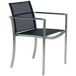 O-ZON • Gartenstuhl mit Armlehnen / Stapelstuhl • Gestell Edelstahl • Bespannung Schwarz, Weiss oder Cappuccino • ROYAL BOTANIA